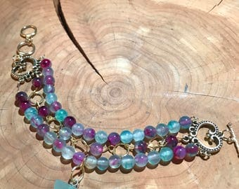 Multicolored Agate Beaded Bracelet with Pendant