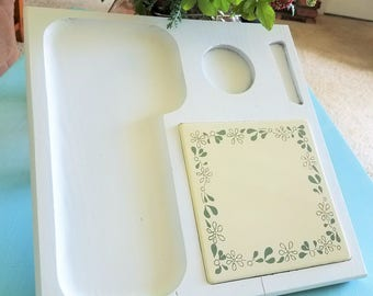 Vintage Wooden Serving Tray Platter Decorative Cheese Plate - Painted White