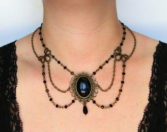 Victorian choker, Gothic black choker, Black victorian cameo necklace, Victorian black choker, Cameo choker, Gothic choker, Gothic jewelry