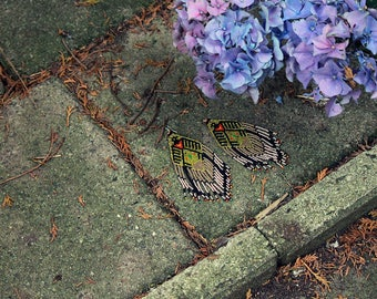 Bird of flame - beaded earrings