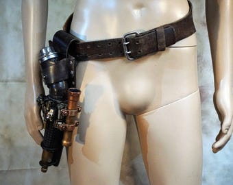 Steampunk Ray Pistol with Holster, Light and Stand - LARP/Cosplay