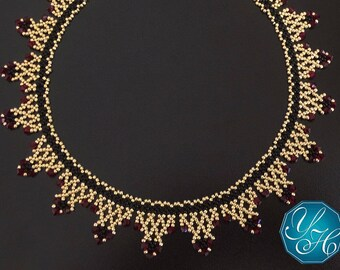 Diana - Ruby SWAROVSKI CRYSTALS with Gold & Black tones Seed Beads Necklace