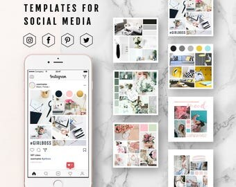 Social Media Template Moodboard Template, Mood Board Photoshop Template, Inspiration Board Template, Instagram Template, Pinterest Template