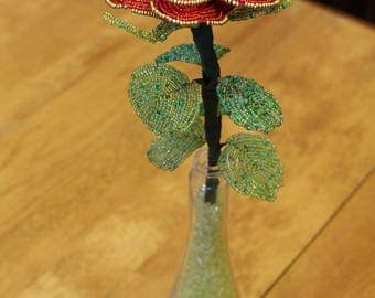Elegant Rose Handmade with Seed Beads