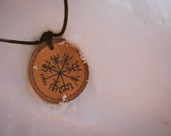 Vegvísir wood burned pendant, pirography necklace, pagan pendant, wooden necklace, viking era pendant.