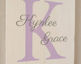 Wood Sign, Baby Name, Initial Signs, Personalized Signs, Nursery Signs, Baby Room Sign, Baby Shower Gift, Baby Gift, Nursery Room Sign