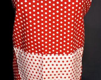 Red Polka Dots apron - Delantal combinado rojo & blanco de puntitos - Apron - women apron