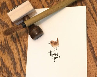thank you card, with hand painted bird
