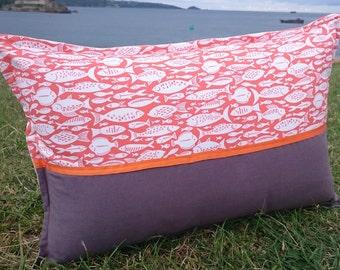 Orange and Grey Oblong Cushion, Fish, Seaside, Coastal, Orange, Funky, Handmade, Cornwall