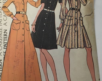 Vintage 1970s Dress w/ Front Inverted Pleats Maxi dress Sewing Pattern McCalls 3480 70s RETRO Sewing Pattern
