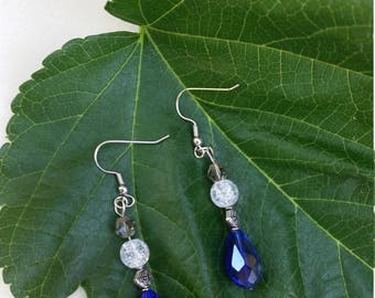 Blue Teardrop and Orb Earrings