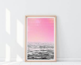 Printable Ocean Print, Wave Printable Print, Sea Wall Decor, Geometric Print, Ocean Wall Art, Coastal Art, Dorm Room Poster