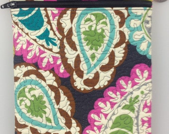 Crossbody Bag: Quilted Paisley Print fully lined with a coordinating print.