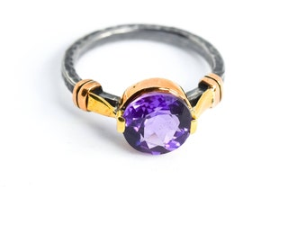 Silver Amethyst Ring, Oxidized Ring, Natural Amethyst Ring, Statement Ring, Amethyst Ring, February Birthstone, Mothers Day Gift