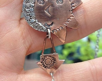 Sterling Silver and Copper Sun and Moon Dangle Necklace