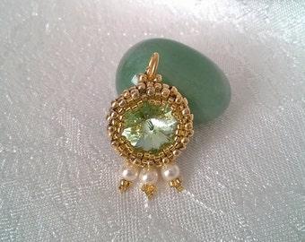 Light Green Beaded Rivoli Pendant, Gift for Her