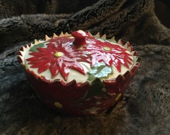 Poinsettia Cookie or Candy Dish