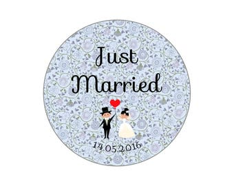 "Button, mirror, bottle opener, Liberty Blue ""Just Married"" wedding magnet"