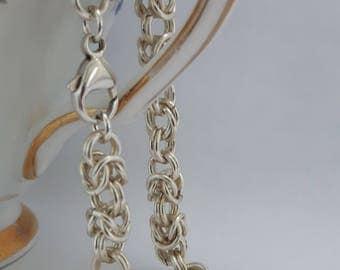 Byzantine Bracelet / Sterling Silver Plated Bracelet / Byzantine Chainmaille Bracelet