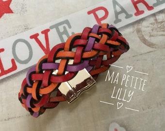 Purple red orange braided leather bracelet