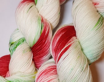 "Hand dyed Christmas Yarn - ""Christmas Candy"" -, perfect for your Christmas projects! Socks, shawls, hats, cowls. mittens! Choice of weights."