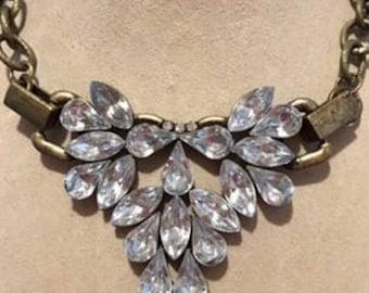 Marquis Rhinestone Necklace on Brass Ox Chain