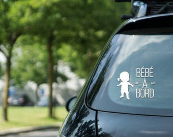 "Vinyl sticker "" Bébé à bord "" , girl on board, vinyl on decal paper, car decal, kid on board"