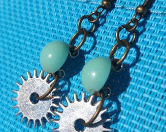 Teal Gear Earrings