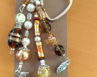 Pearl brown dolphin keychain