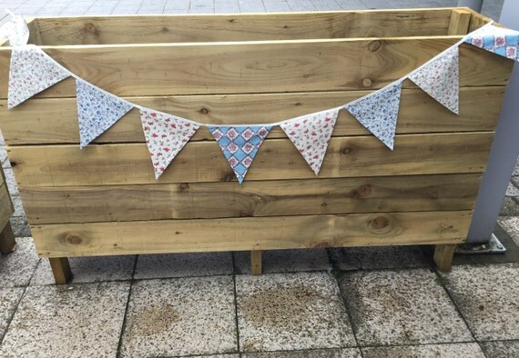 Handmade Shabby Chic Vintage Floral Bunting 2m / 9flags cotton