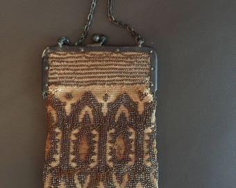 Vintage beaded purse with beaded fringe