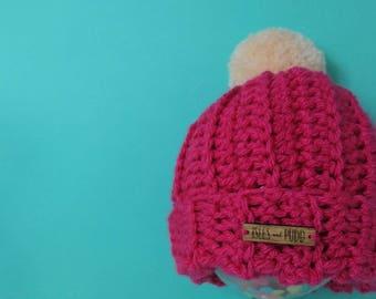Kids | PINK | Crocheted Unisex Bobble Hat | With Cream Pom Pom