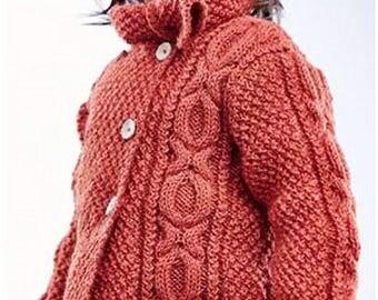 PDF Knitting Pattern Sweater Coat,Girls Aran Coat,Pattern Instant Download PDF – 110