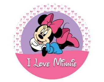 I love Minnie Mouse Button - Minnie Mouse Pin - Theme Park Button - Disney Park Button - Minnie Pin - Minnie Lanyard Button