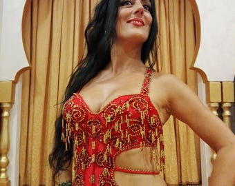 Professional bellydance costume color red