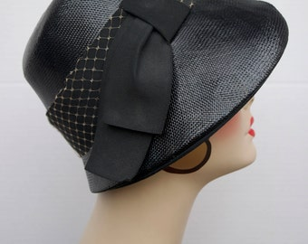 1960's Black Straw Lampshade Cloche
