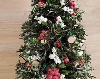 Miniature Christmas Tree, Dollhouse Christmas Tree, Dollhouse Miniatures, Holiday, Christmas, Handmade, OOAK, 1:12 Scale