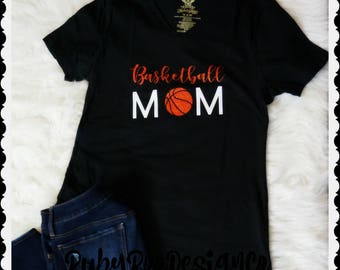 Basketball Mom V-neck Tee // GLITTER