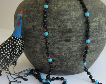 Onyx-Turquoise-Coral Wrap Necklace - Genuine Gemstones & Pure Silk Thread