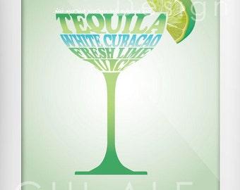 Drink,Cocktail,Illustration,Home Decor,INSTAND DOWNLOAD,frame Art,Wall Art,Margarita,Typography,Digital Decor,KitchenDecor