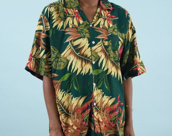 Hawaiian Shirt, Spring Shirt, Floral Shirt, Palm Tree, Leaf Print, Vintage 90s, 90s Clothing, Summer Shirt, Hipster Shirt, Tropical Shirt