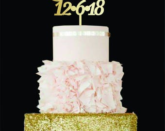 Customized wedding cake topper Wedding Cake Topper date Gold Cake Topper Personalised Cake Toppers Rustik Wedding cake topper for wedding
