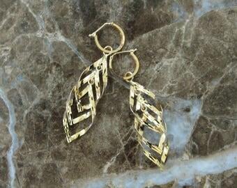 18K Gold Engraved Huggie Hoop Dangle Earrings