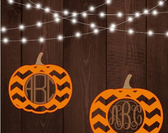 Chevron Monogram Pumpkin Decal SPECIAL FREE SHIPPING!!