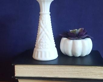 Vintage small milk glass bud vase
