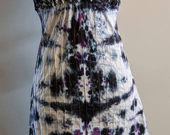 Black and purple ruched dress