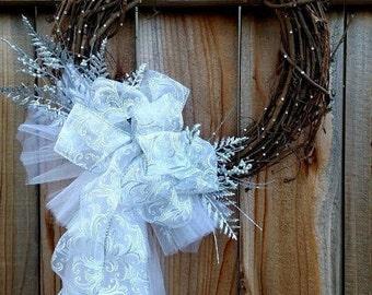 Bridal Wreath, Wedding Wreath, Grapevine Wreath, White Satin Wreath, Embellished Wreath, Bridal Decor, Wedding Decor. Bridal Shower Wreath