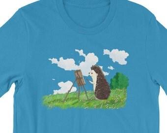 Hedgehog Painter Artful Short-Sleeve Shirt T-Shirt of Wonder by Urchin Wear Cute Hedgehog Art