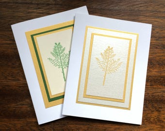 Winter branch embossed Christmas cards (set of two), individually handmade: peace on earth, holiday card, solstice card, SKU PEA21043