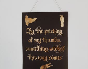 Gothic Witches Calligraphy Quote Print - A5 shiny gold lettering